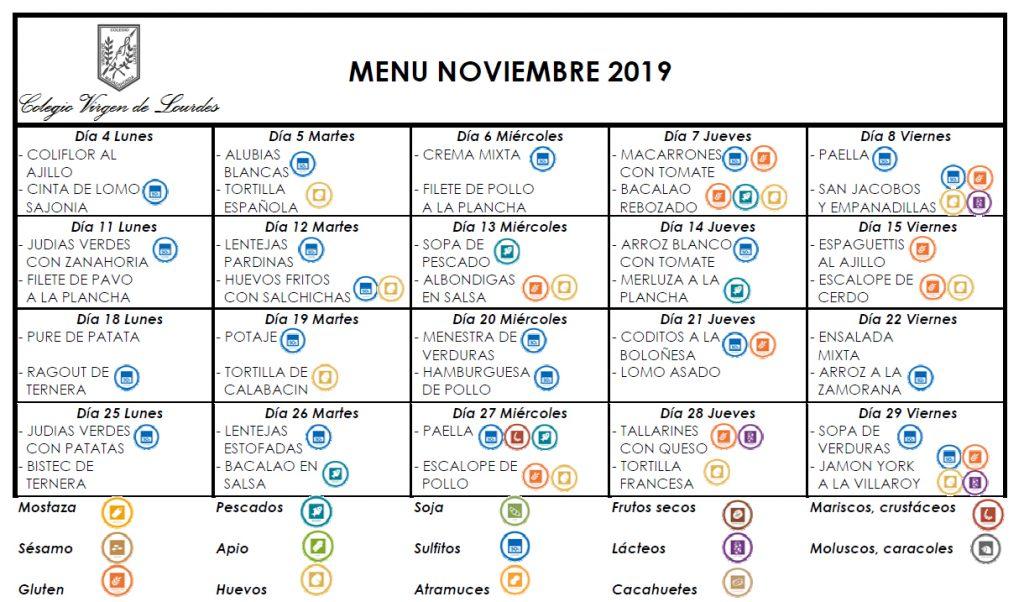 Menú de noviembre de 2019