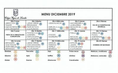 Menú de diciembre de 2019