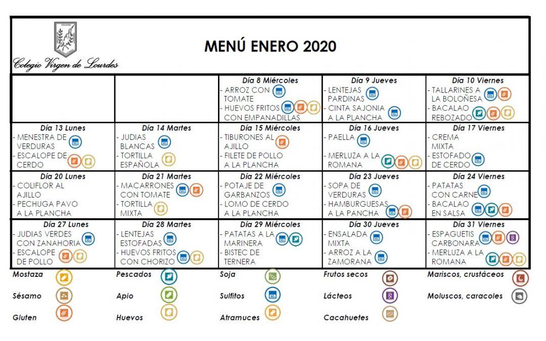 Menú de enero de 2020