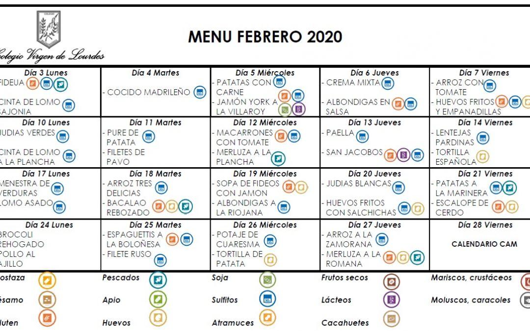 Menú de febrero de 2020