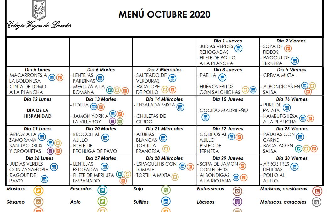 Menú de octubre de 2020