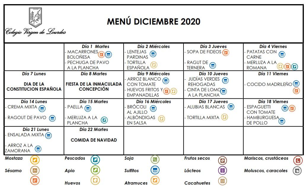 Menú de diciembre de 2020